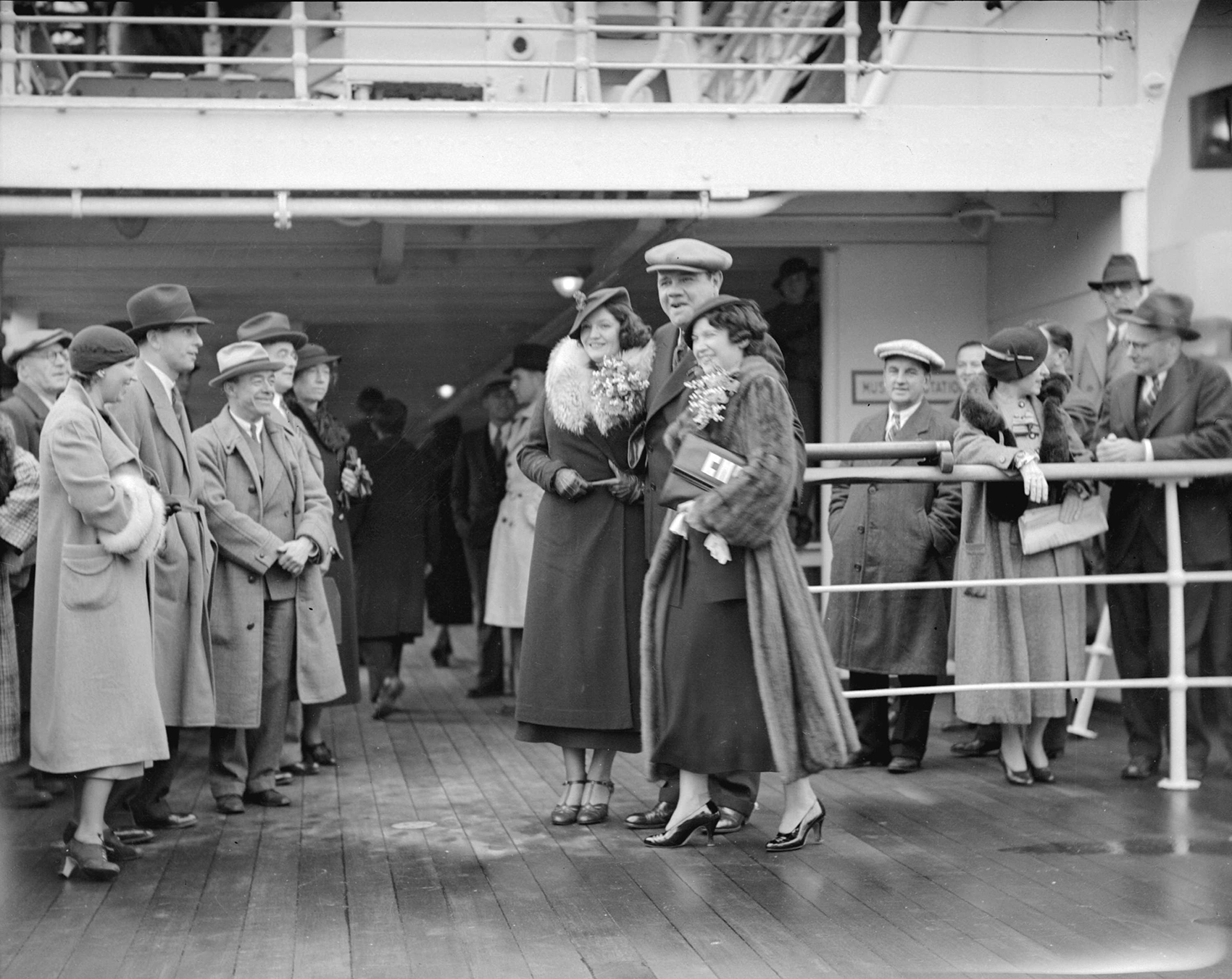 Babe Ruth on board Empress of Japan in 1934, bound for Yokohama.