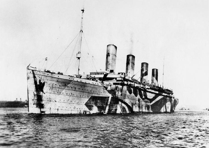 "Olympic in fading ""dazzle"" livery near the war's end,"
