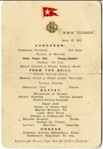 Titanic's first-class restaurant menu sold for £60,000.