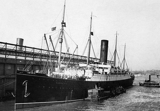 Carpathia docked at Pier 54.