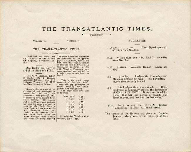 "The first issue of ""The Transatlantic Times,"