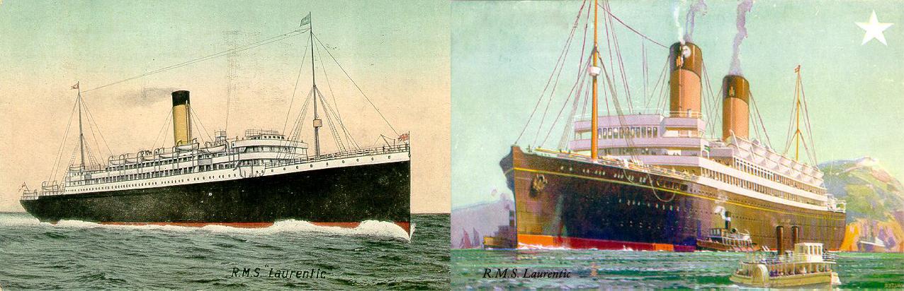 Laurentic (1908) left and Laurentic (1927) right.