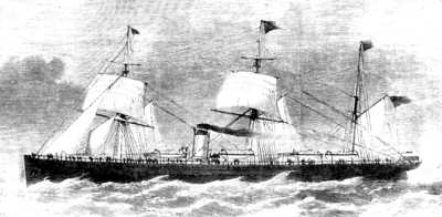 An engraving of Abyssinia under sail and steam.