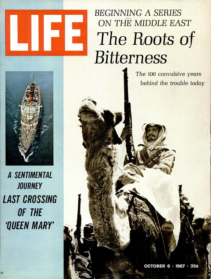 """the 10 October 1967 issue of LIFE Magazine devoted a portion of its cover to Queen Mary's final voyage. Inside was a multi-page story """"as told by"""" by Queen Mary herself."""