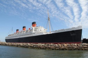 Queen Mary, firmly moored in Long Beach, California.