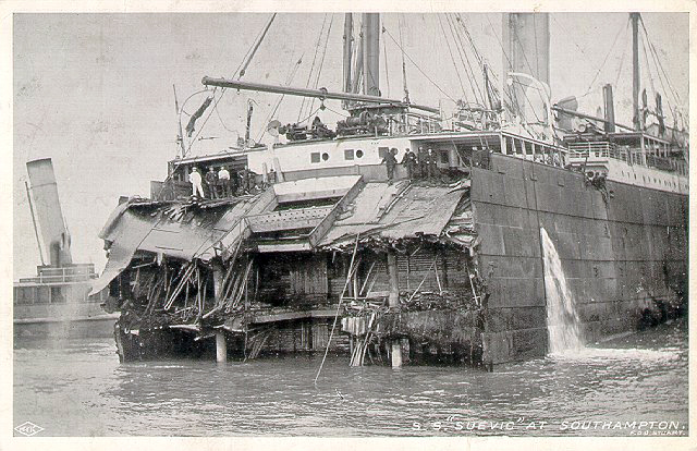 Suevic in Southampton, minus her bow.