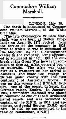 William Marshall White Star Commodore