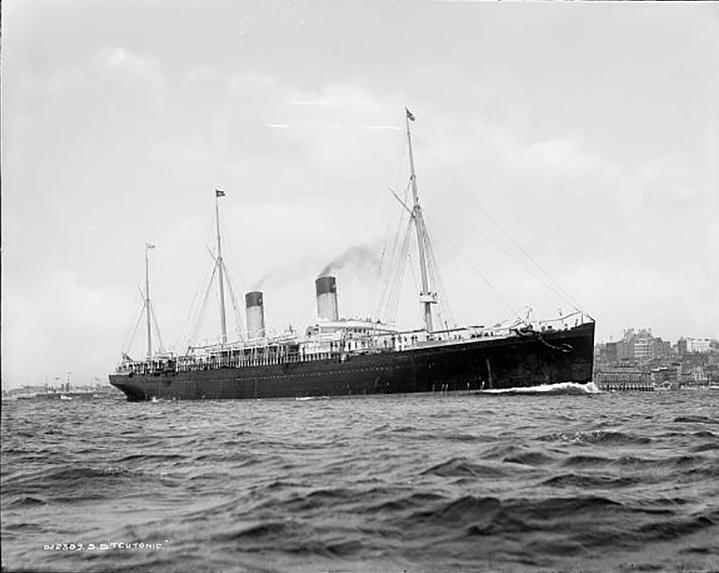 Teutonic arrives in port.