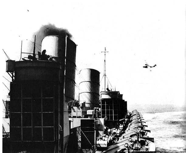 Manned gun positions on Queen Mary's boiler vents and deckhouses.