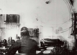 The only known photograph of Titanic's Marconi room. Taken by passenger Fr. Browne, who disembarked in Queenstown.