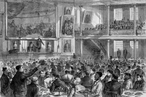 """""""Breakfast to Survivors in Faneuil Hall,"""" a wood engraving drawn by J. J. Harley and published in Harper's Weekly, April 1873."""