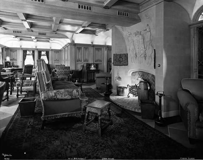 Cabin Class, Fireplace Section of Card Room. Feel free to fall asleep.