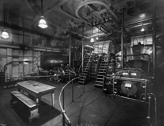Engine Room Looking Aft, Showing Midship Turbine.
