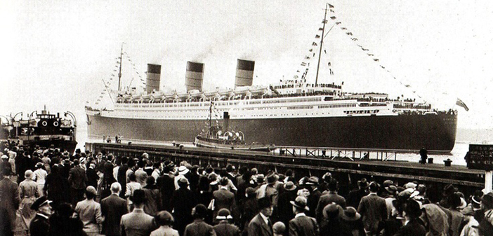 Queen Mary departs Southampton at the start of her maiden voyage.